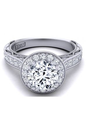 Tapered pavé set high profile cathedral diamond engagement ring WIST-1529-HC WIST-1529-HC