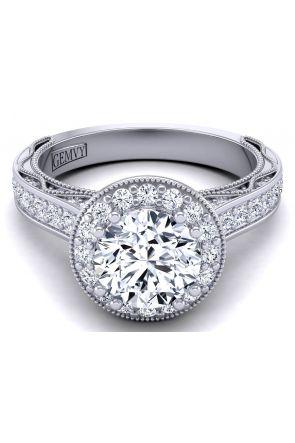 2.8mm pavé set round milgrain halo diamond engagement ring WIST-1529-HD WIST-1529-HD