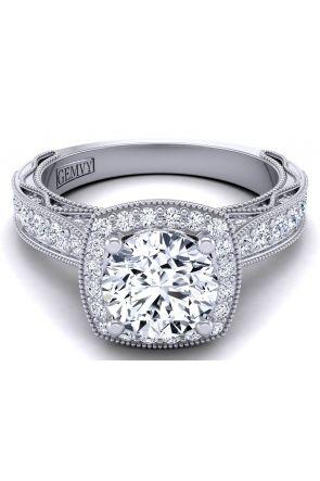 Cushion shaped halo milgrain pavé set engagement ring WIST-1529-HE WIST-1529-HE