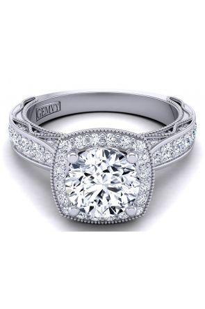 Modern vintage style cushion shaped halo diamond engagement ring WIST-1529-HF WIST-1529-HF