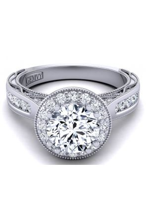 Round channel set tapered band halo diamond engagement ring WIST-1529-HK WIST-1529-HK