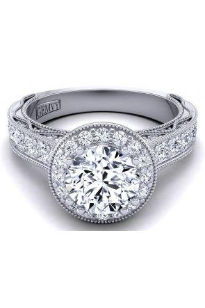 3.3mm pavé set diamond round halo diamond engagement ring setting WIST-1529-HN WIST-1529-HN