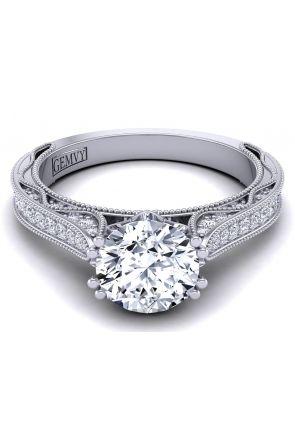 Tapered pavé set milgrain vintage style diamond solitaire ring with side diamonds WIST-1529-SA WIST-1529-SA