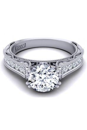 Bright pavé set antique style diamond engagement ring setting WIST-1529-SB WIST-1529-SB