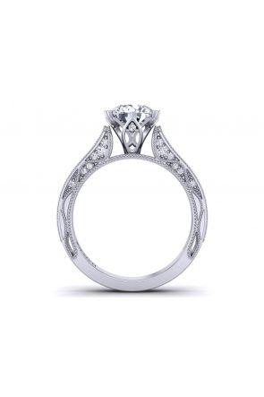 3.3mm pavé set side diamond solitaire engagement ring setting WIST-1529-SC WIST-1529-SC