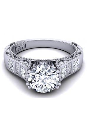 Minimalist 3.5mm wide princess bezel set engagement ring WIST-1529-SE WIST-1529-SE