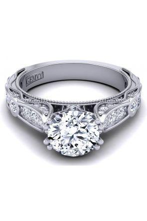 Bezel set unique band vintage style diamond engagement ring WIST-1529-SK WIST-1529-SK