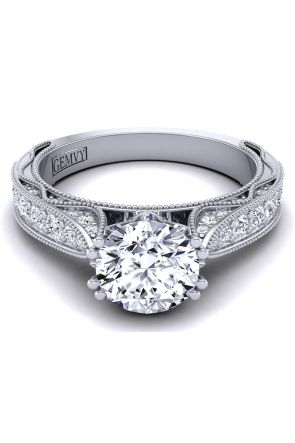 Half band tapered unique pavé-set diamond engagement ring WIST-1529-SM WIST-1529-SM