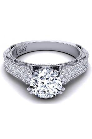"Petite ""Bright"" channel pavé set milgrain diamond engagement ring semi-mount WIST-1529-SN WIST-1529-SN"