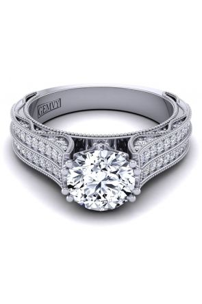 Bold antique style pavé semi mount wedding ring WIST-1529-ST WIST-1529-ST