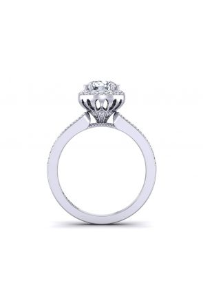 Tapered double row pavé half-band halo diamond engagement ring WIST-1538-B WIST-1538-B