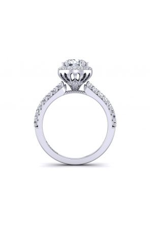 Slim band slanted halo unique designer engagement ring WIST-1538-F WIST-1538-F