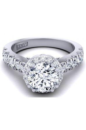 Scalloped pavé halo diamond engagement WIST-1538-J WIST-1538-J