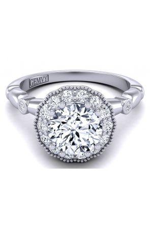 Slender floral modern vintage style halo ring WIST-1538-K WIST-1538-K