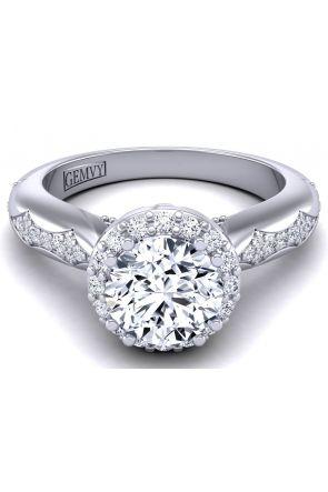 Custom designed floral halo engagement ring WIST-1538-N WIST-1538-N