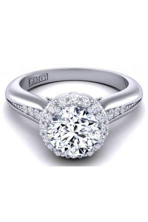 Flower inspired designer diamond halo ring WIST-1538-P WIST-1538-P